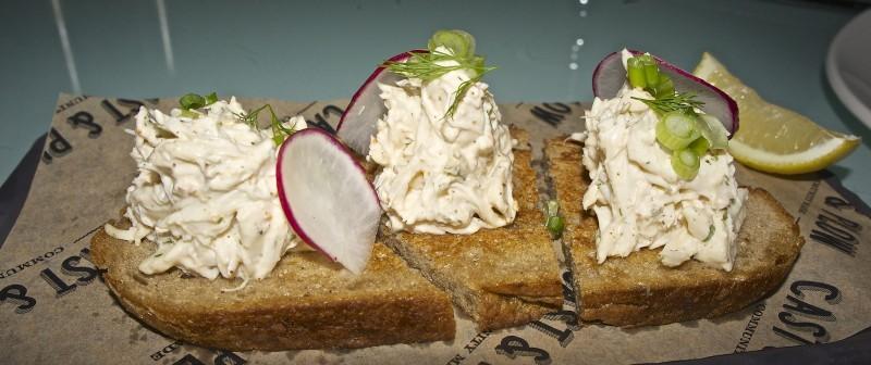 Crab Toast – Spicy yogurt, country bread, sesame, lemon